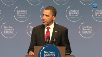 English: President Obama speaking at the Nucle...